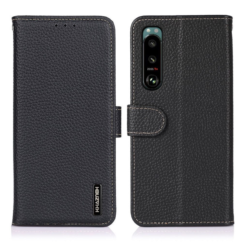 Real Leather Wallet Sony Xperia 5 III Black