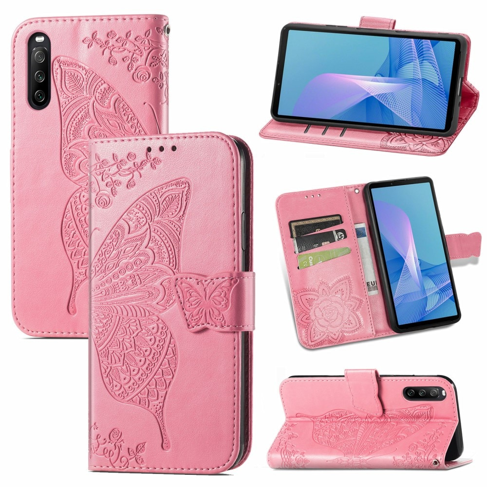 Läderfodral Fjärilar Sony Xperia 10 III rosa