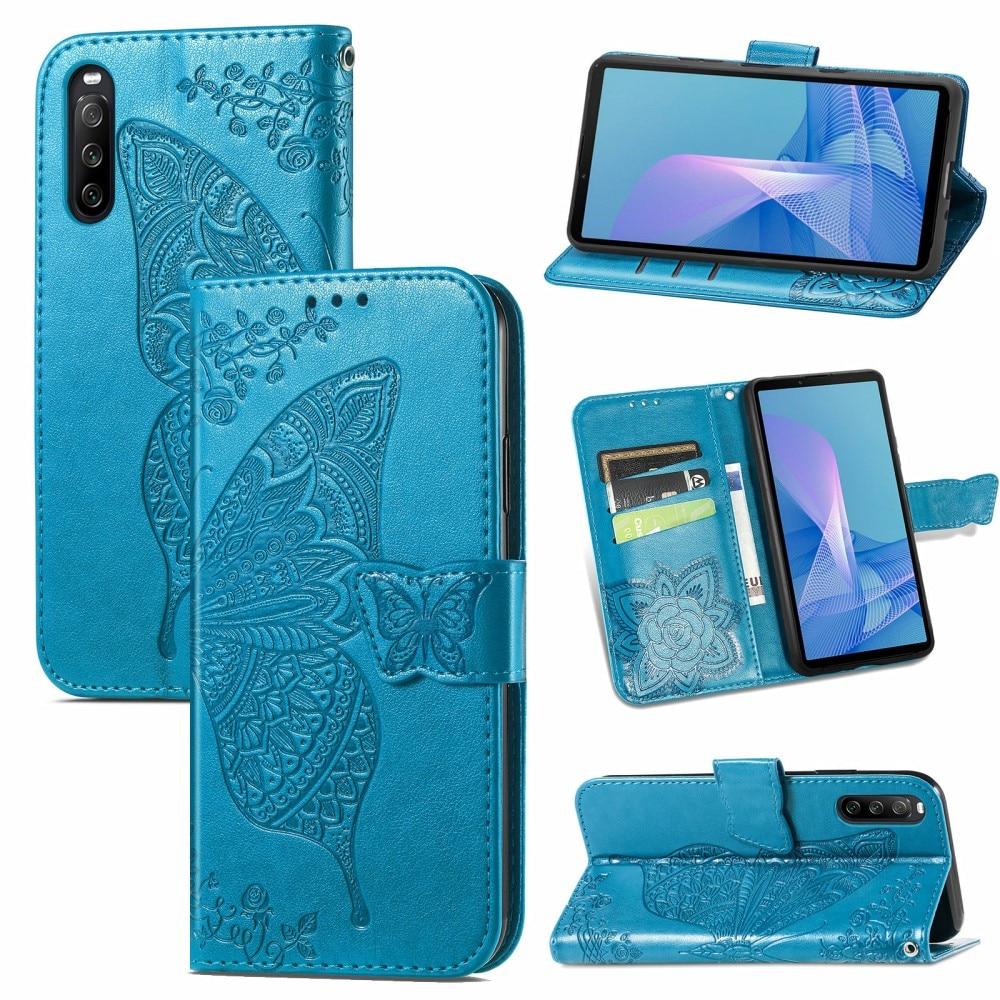 Läderfodral Fjärilar Sony Xperia 10 III blå