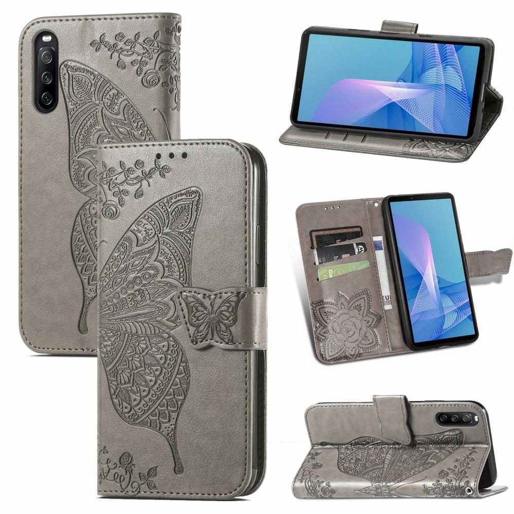 Läderfodral Fjärilar Sony Xperia 10 III grå