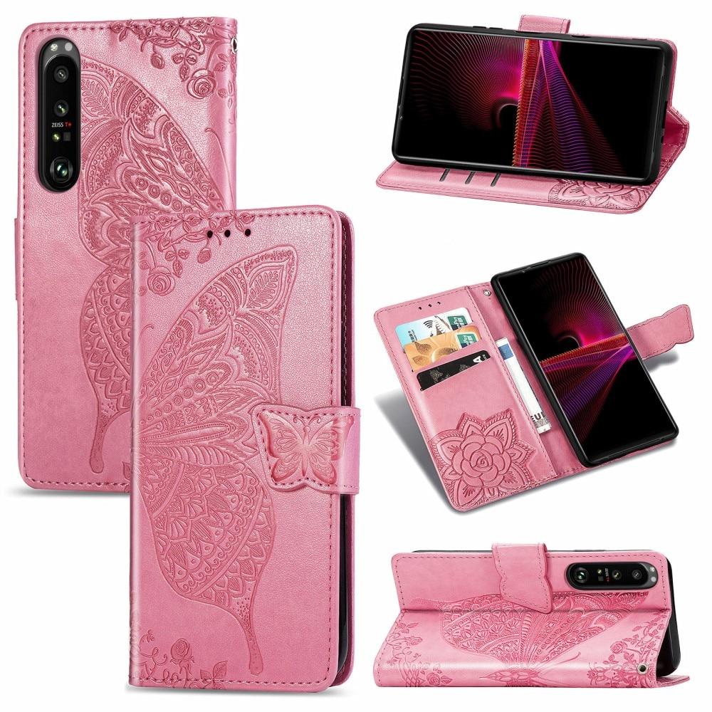 Läderfodral Fjärilar Sony Xperia 1 III rosa