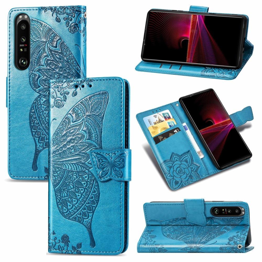 Läderfodral Fjärilar Sony Xperia 1 III blå