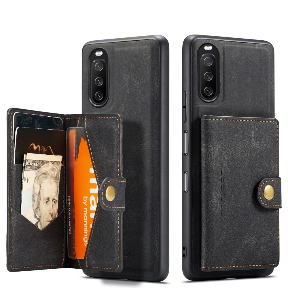 Magnetic Wallet Card Case Sony Xperia 10 III Black