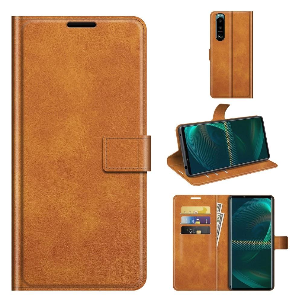 Leather Wallet Sony Xperia 5 III Cognac