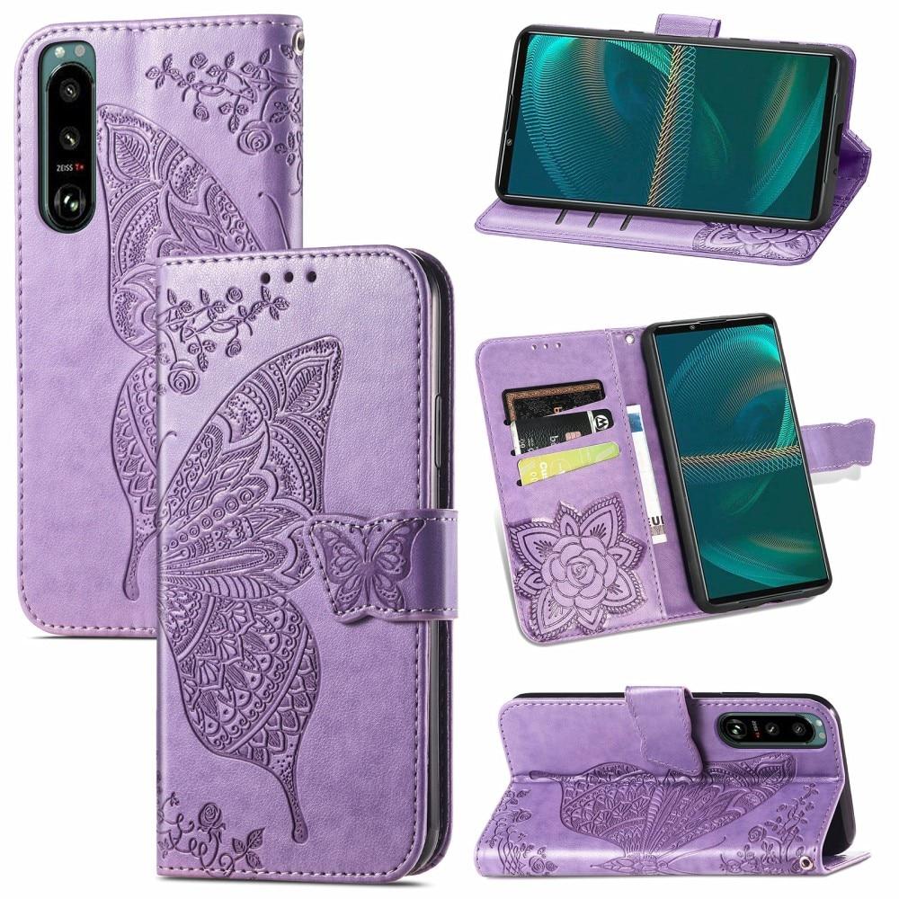 Läderfodral Fjärilar Sony Xperia 5 III lila