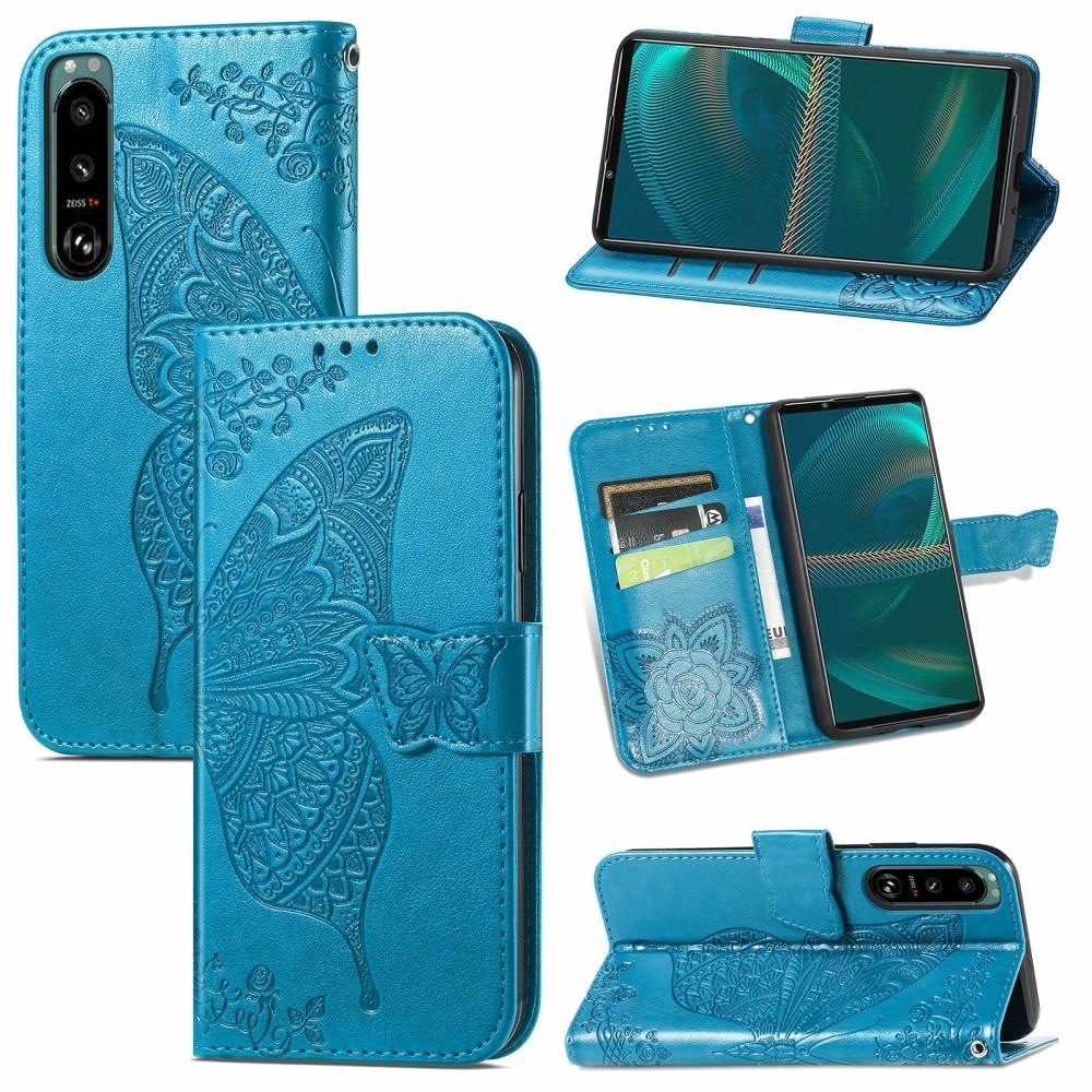 Läderfodral Fjärilar Sony Xperia 5 III blå