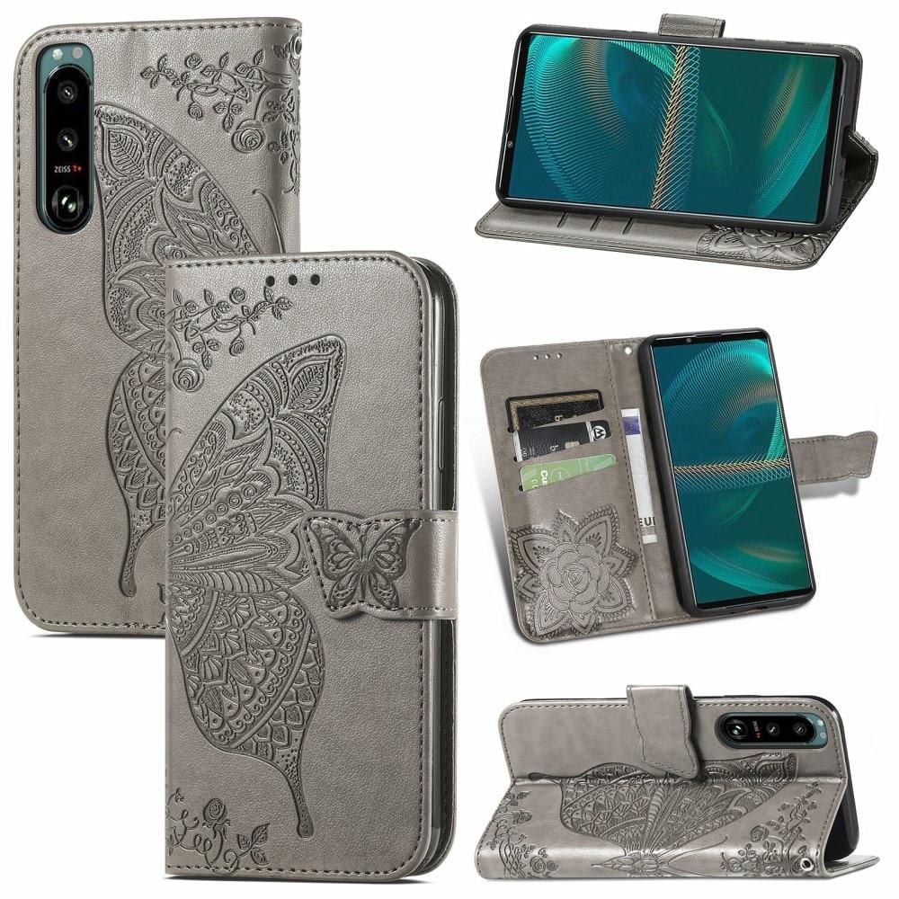 Läderfodral Fjärilar Sony Xperia 5 III grå