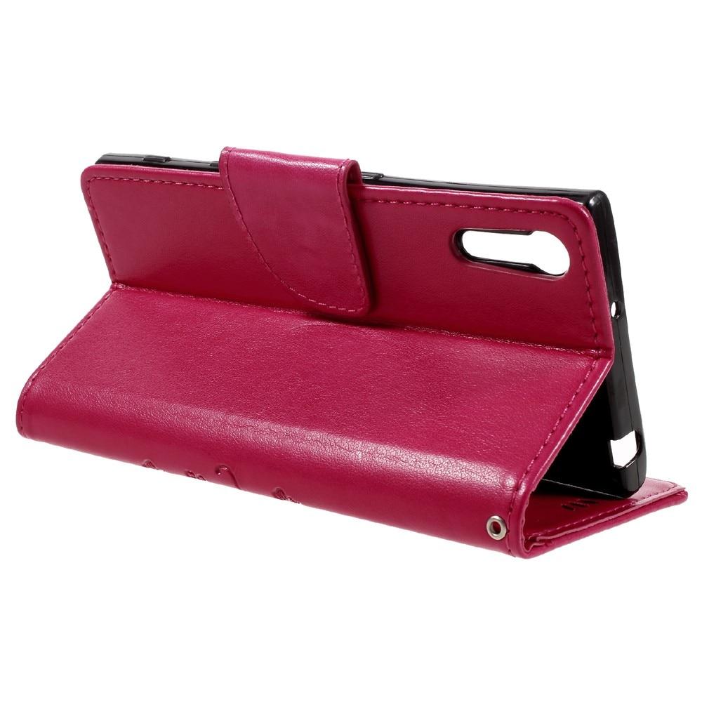 Läderfodral Fjärilar Sony Xperia XZ rosa