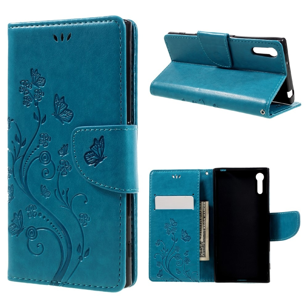 Läderfodral Fjärilar Sony Xperia XZ blå