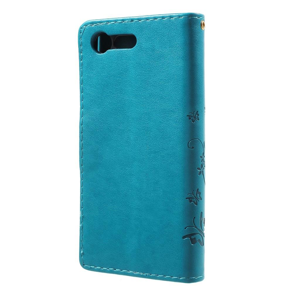 Läderfodral Fjärilar Sony Xperia X Compact blå