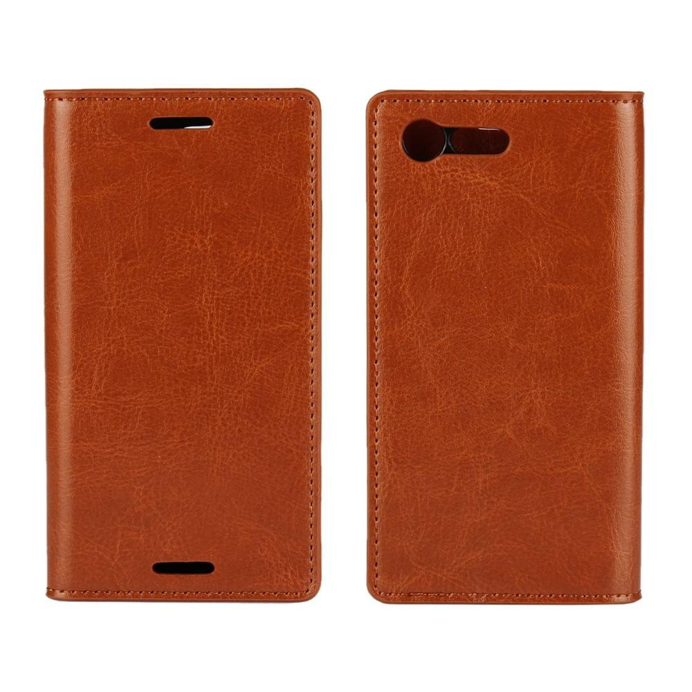 Mobilfodral Äkta Läder Sony Xperia X Compact brun