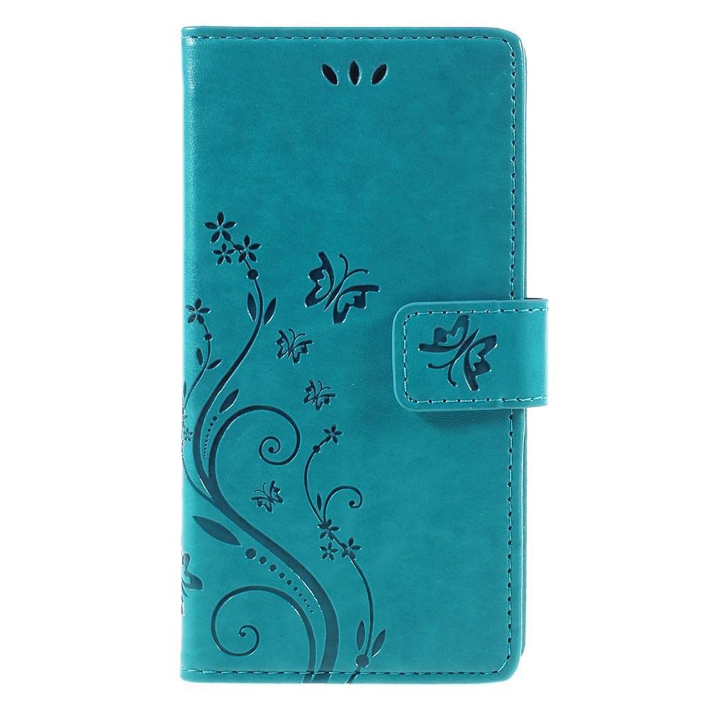 Läderfodral Fjärilar Huawei P9 Lite blå