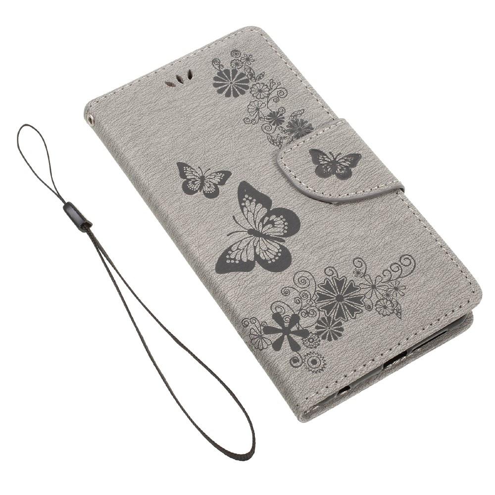 Läderfodral Fjärilar Huawei Honor 8 grå
