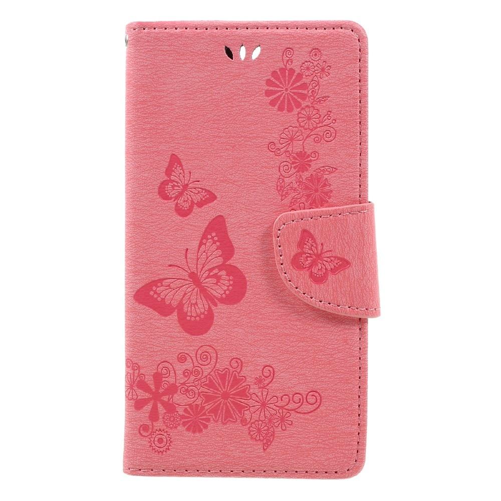 Läderfodral Fjärilar Huawei Honor 8 rosa