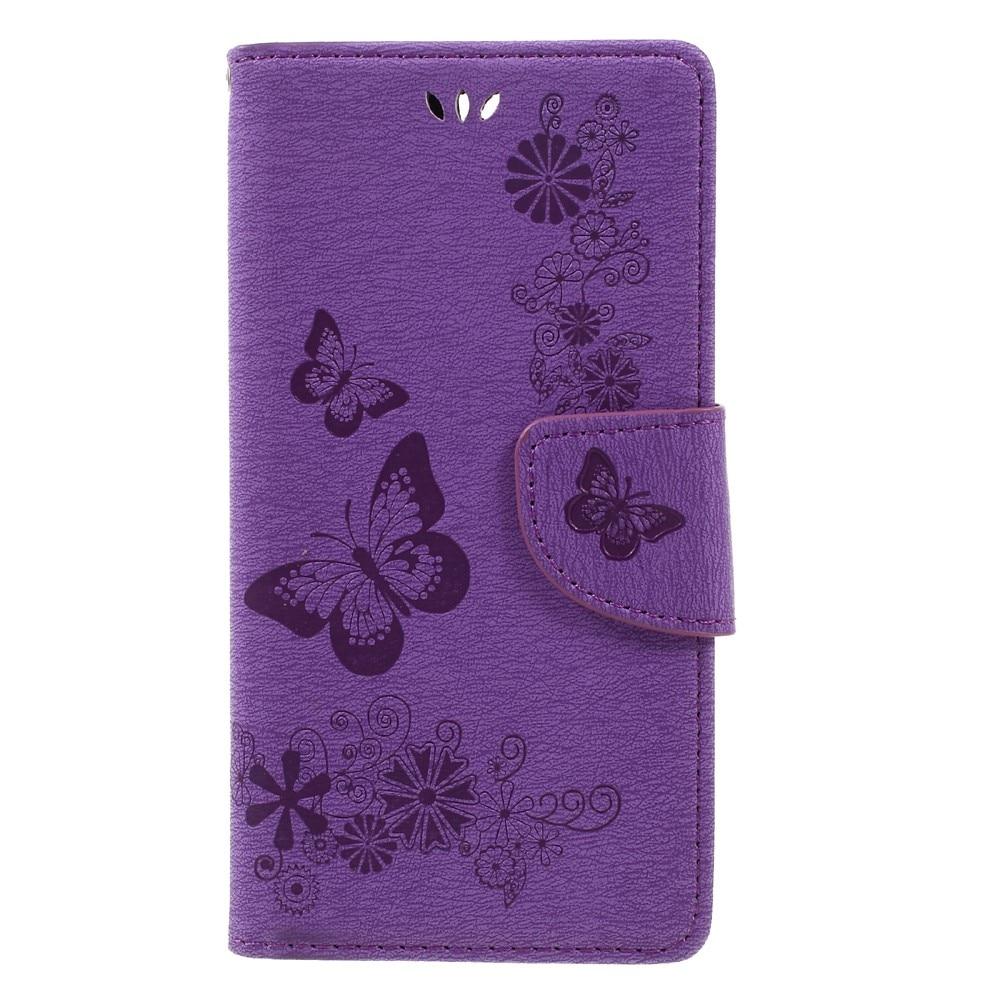Läderfodral Fjärilar Huawei Honor 8 lila