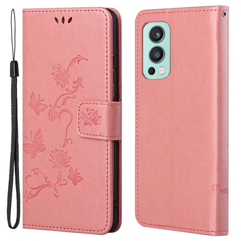 Läderfodral Fjärilar OnePlus Nord 2 5G rosa