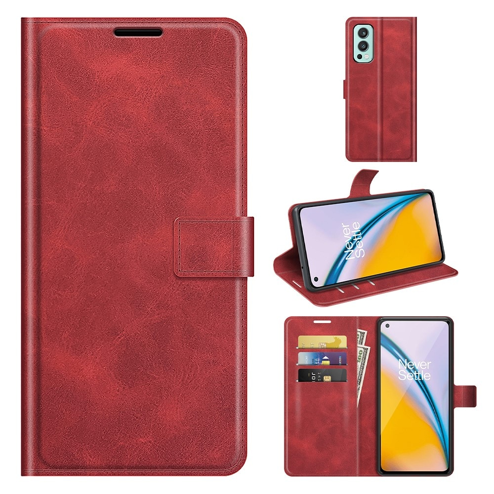 Leather Wallet OnePlus Nord 2 5G Red