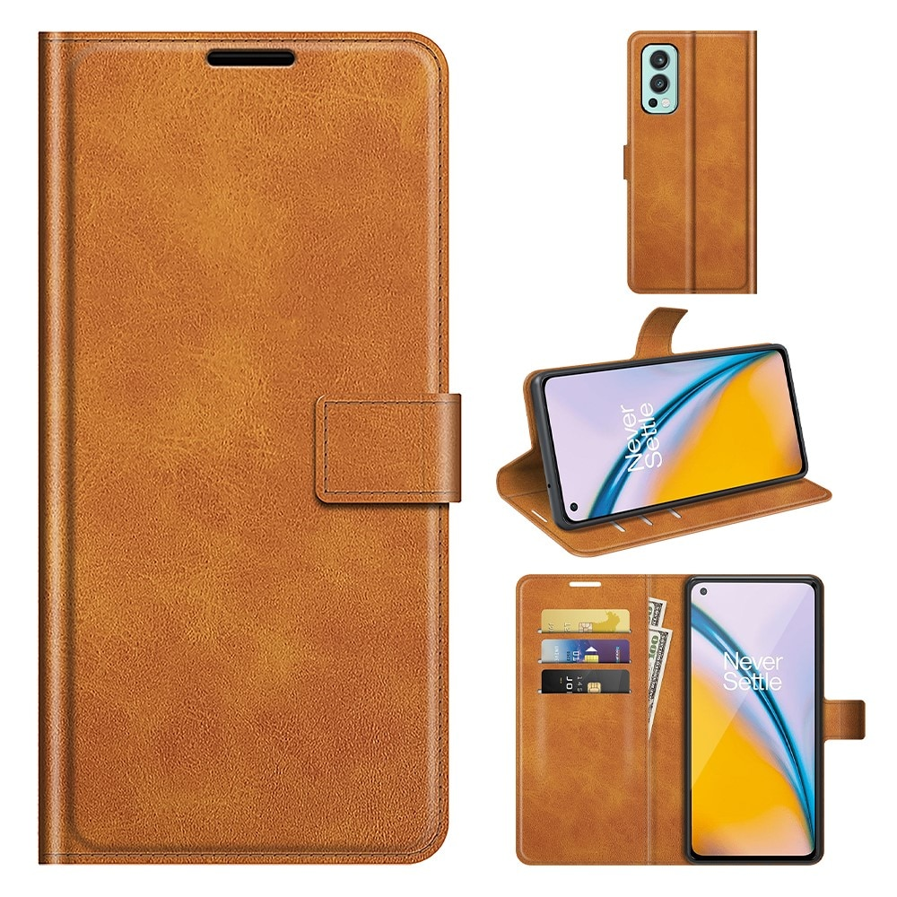 Leather Wallet OnePlus Nord 2 5G Cognac