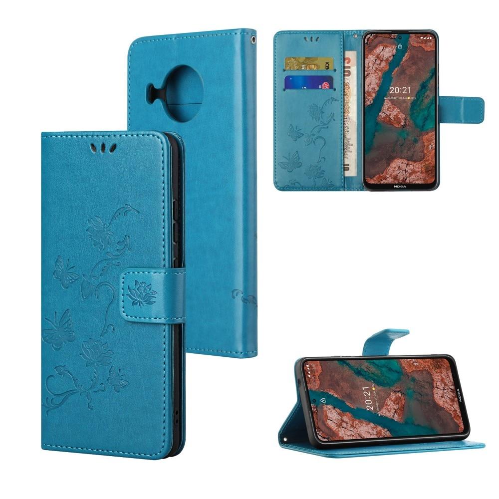 Läderfodral Fjärilar Nokia X10/X20 blå