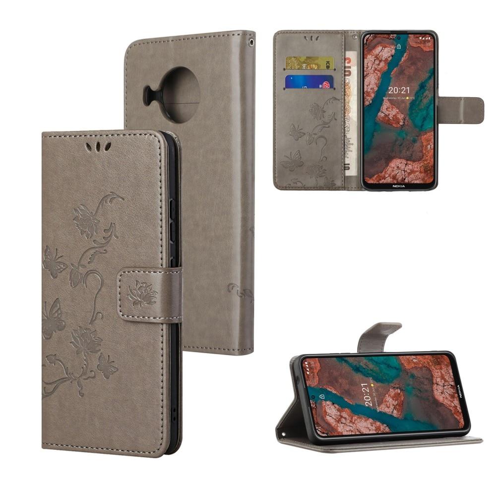 Läderfodral Fjärilar Nokia X10/X20 grå