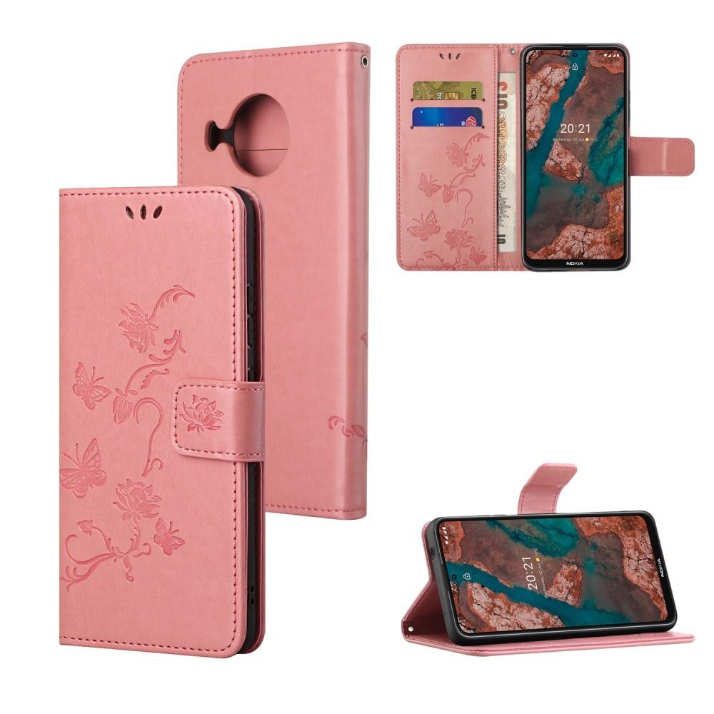 Läderfodral Fjärilar Nokia X10/X20 rosa