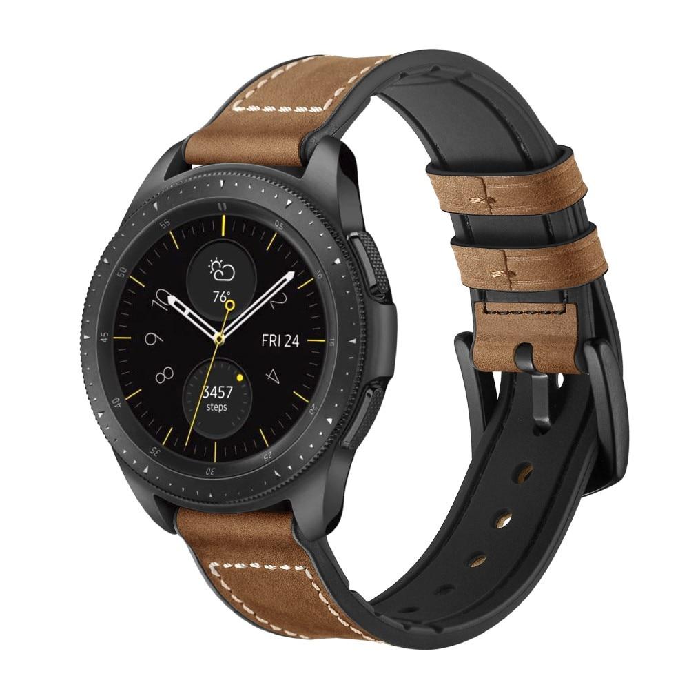 Premium Läderarmband Galaxy Watch 4 Classic 42/46 mm brun
