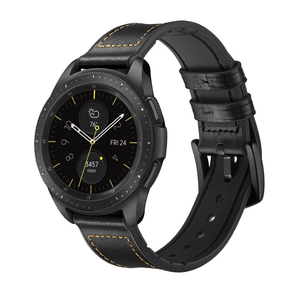 Premium Läderarmband Galaxy Watch 4 Classic 42/46 mm svart