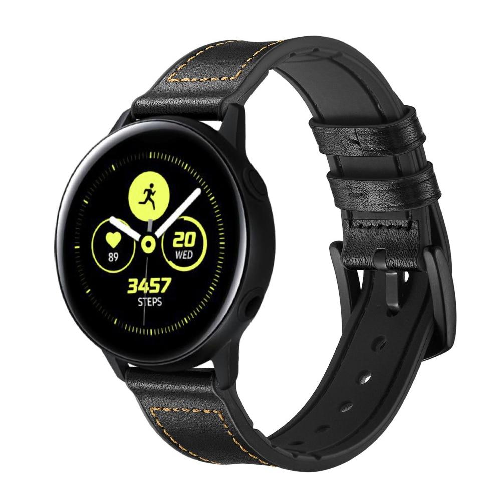 Premium Läderarmband Galaxy Watch 4 40/44 mm svart