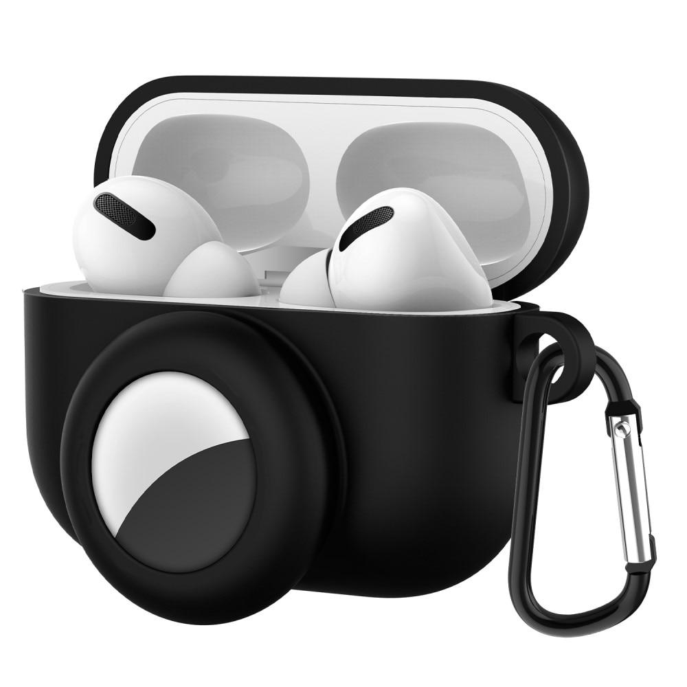AirPods Pro silikonskal med AirTag hållare svart