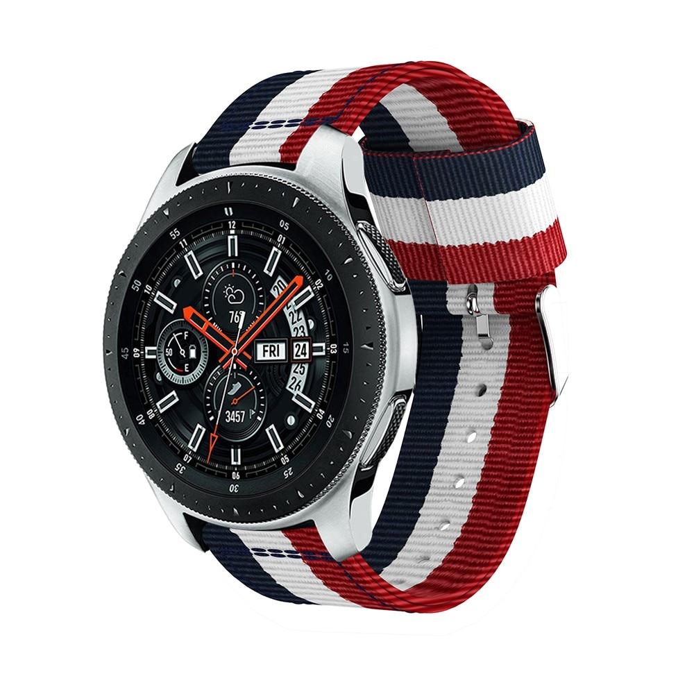 Nylonarmband Samsung Galaxy Watch 45/46 mm blå/vit/röd