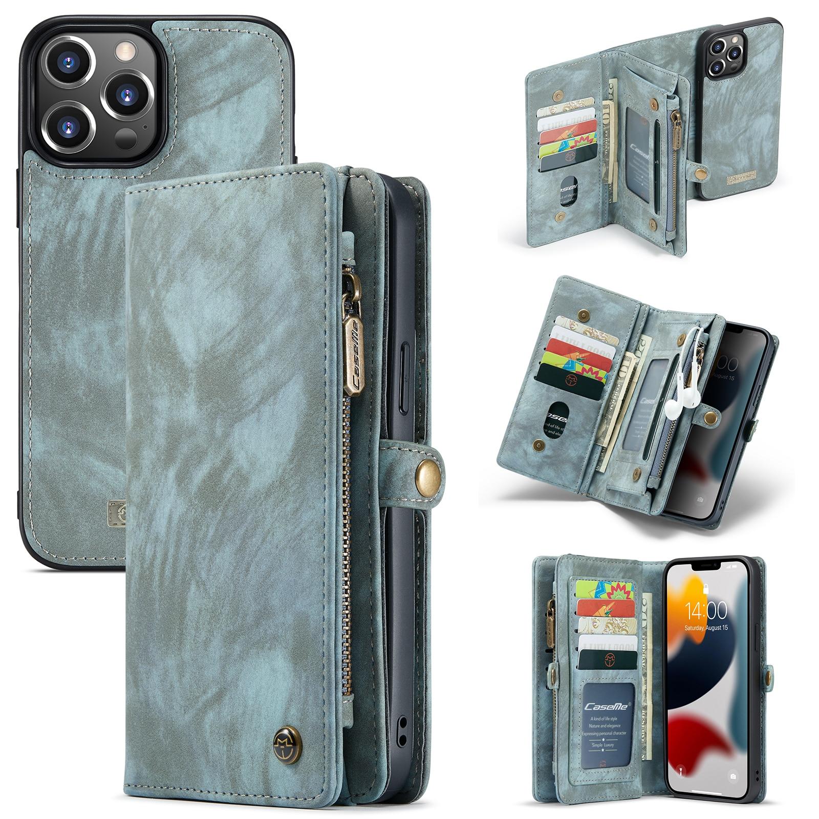 Multi-slot Plånboksfodral iPhone 13 Pro blå