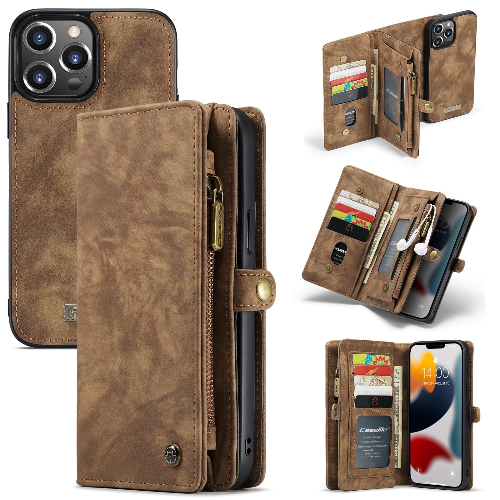 Multi-slot Plånboksfodral iPhone 13 Pro brun