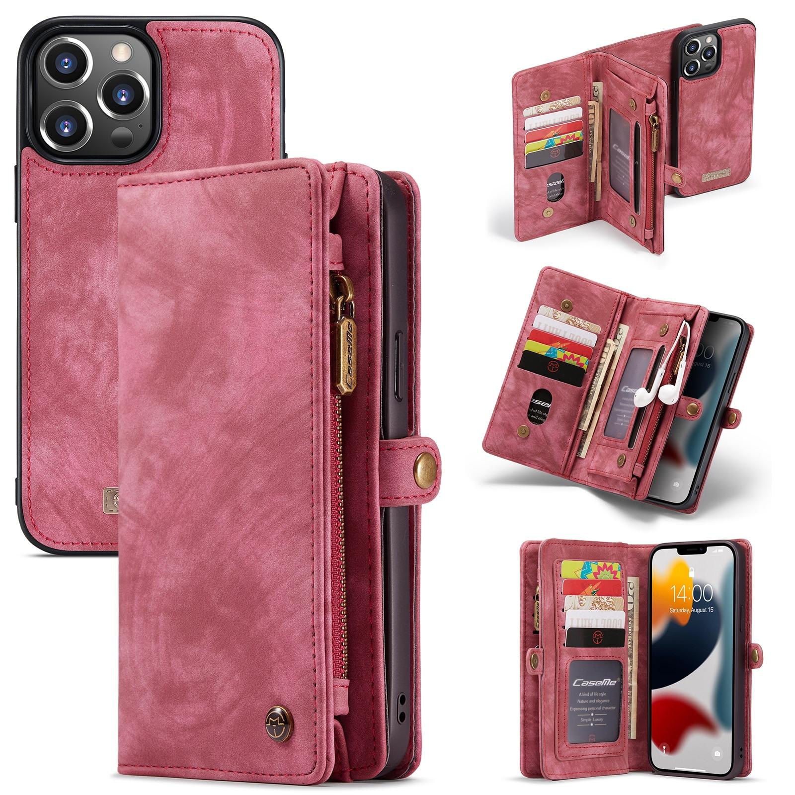 Multi-slot Plånboksfodral iPhone 13 Pro röd