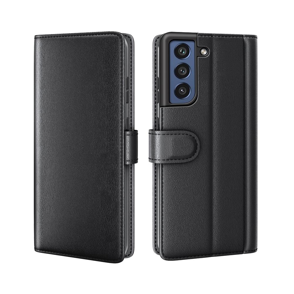 Äkta Läderfodral Samsung Galaxy S21 FE svart