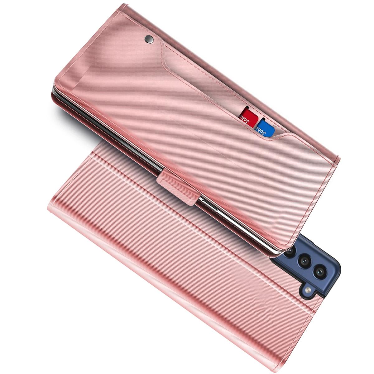 Plånboksfodral Spegel Galaxy S21 FE rosa guld