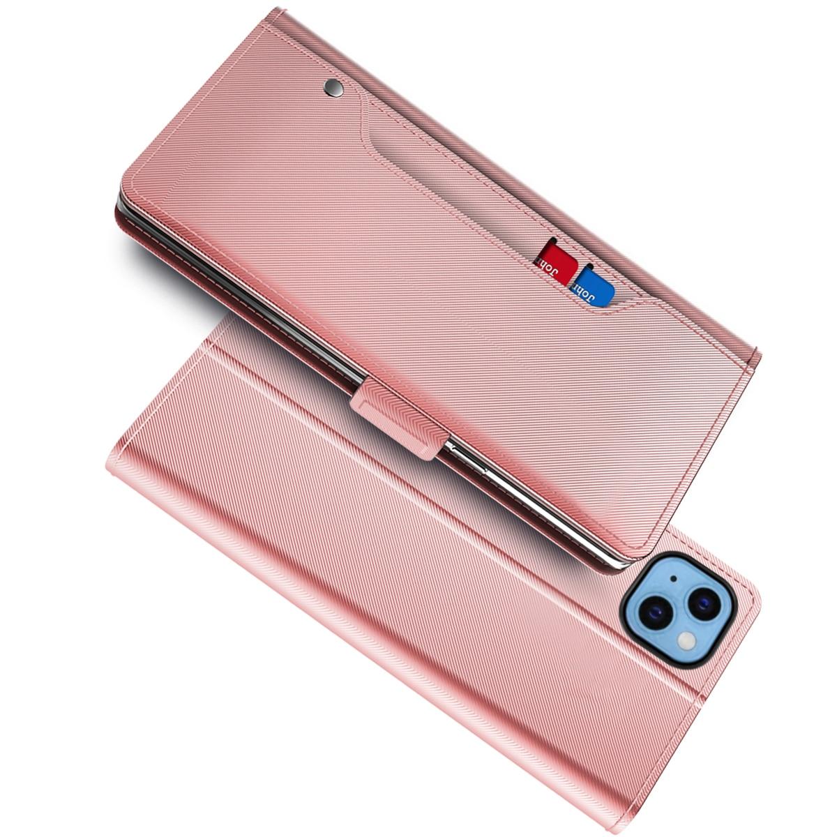 Plånboksfodral Spegel iPhone 13 rosa guld