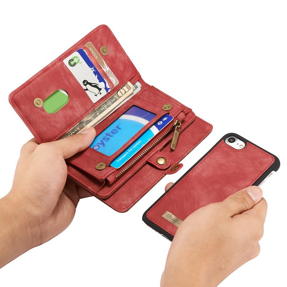 Multi-slot Plånboksfodral iPhone 7/8/SE 2020 röd