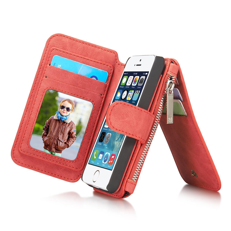 Multi-slot Plånboksfodral iPhone 5/5S/SE röd