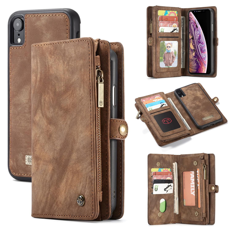 Multi-slot Plånboksfodral iPhone XR brun