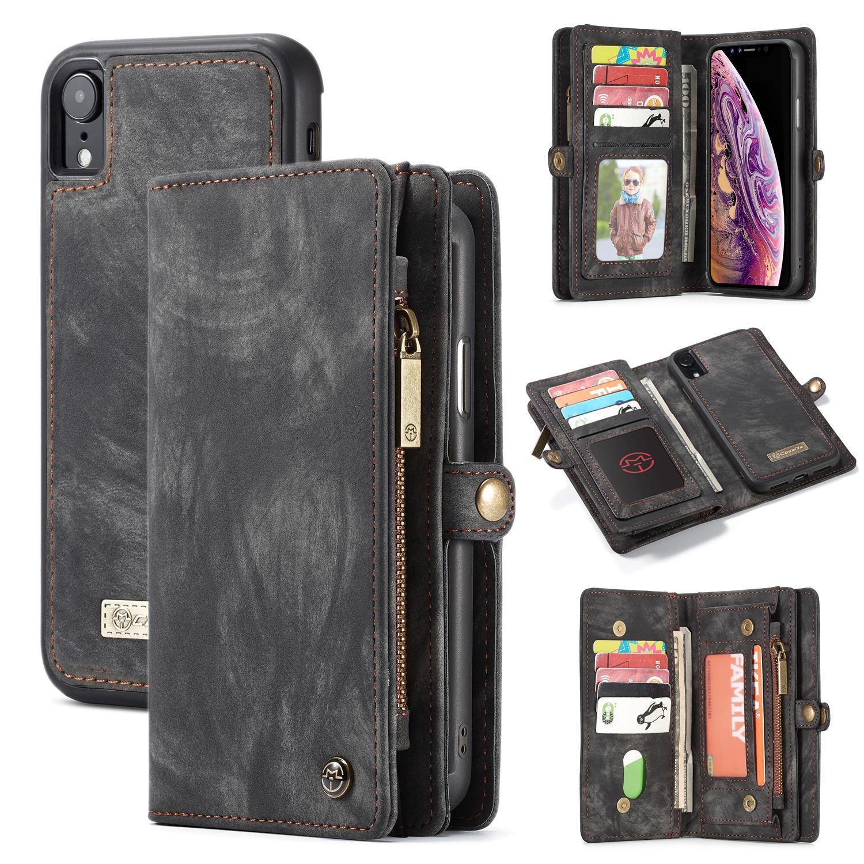 Multi-slot Plånboksfodral iPhone XR grå