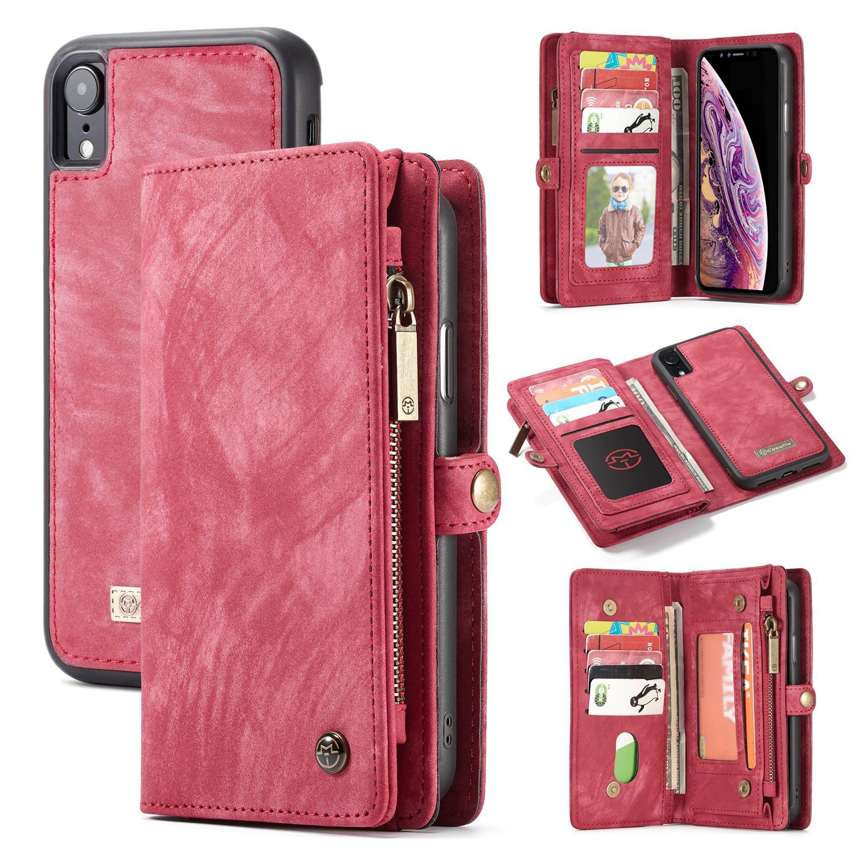 Multi-slot Plånboksfodral iPhone XR röd