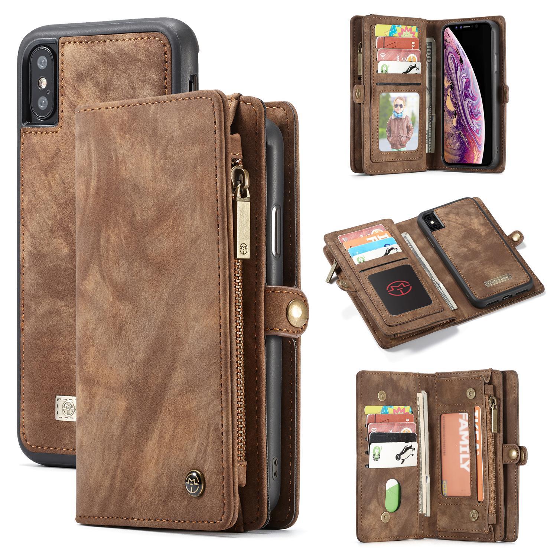 Multi-slot Plånboksfodral iPhone XS Max brun