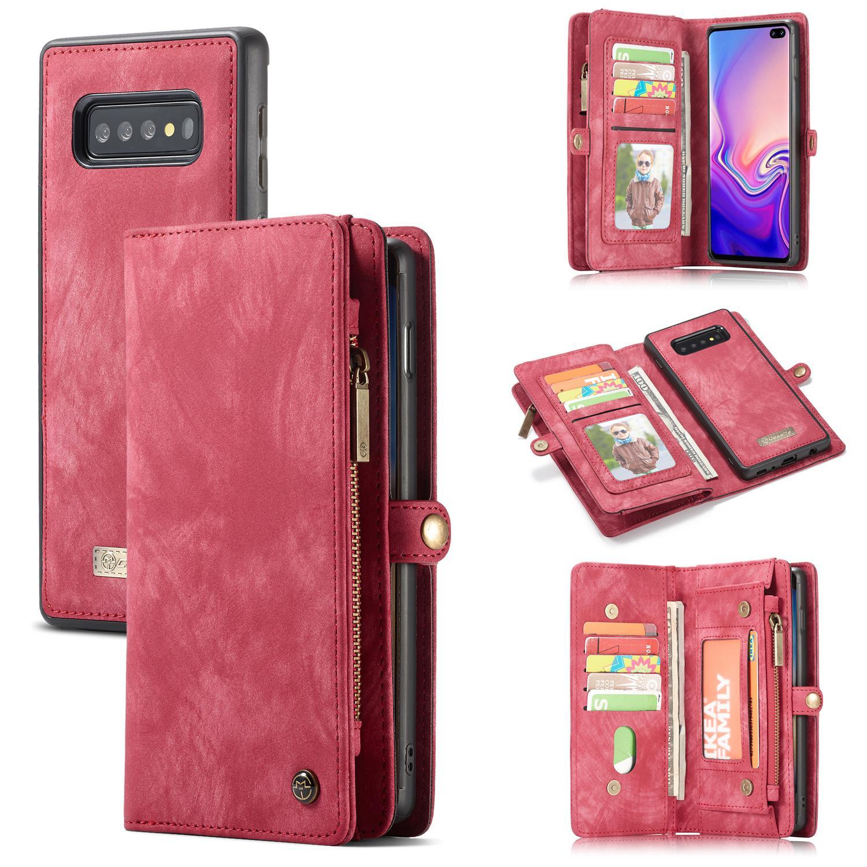 Multi-slot Plånboksfodral Samsung Galaxy S10 röd