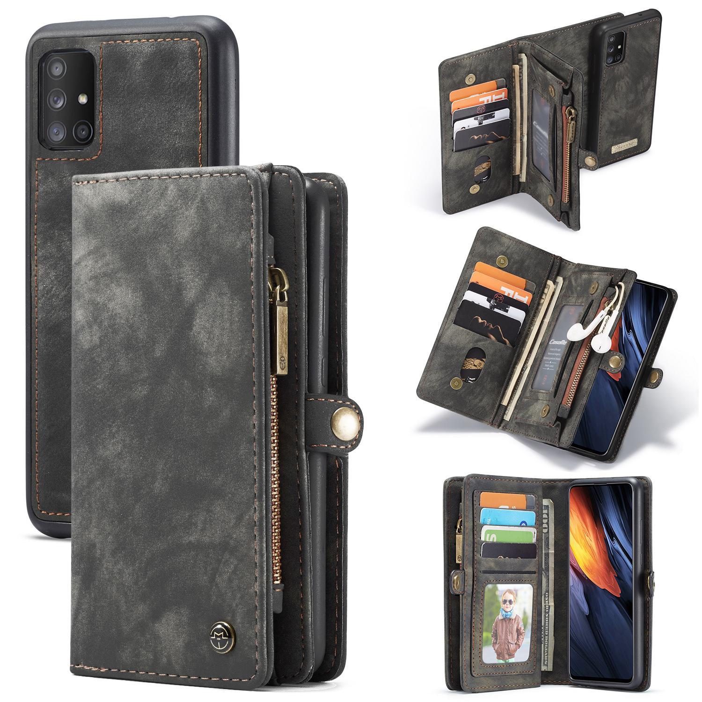 Multi-slot Plånboksfodral Galaxy A71 grå