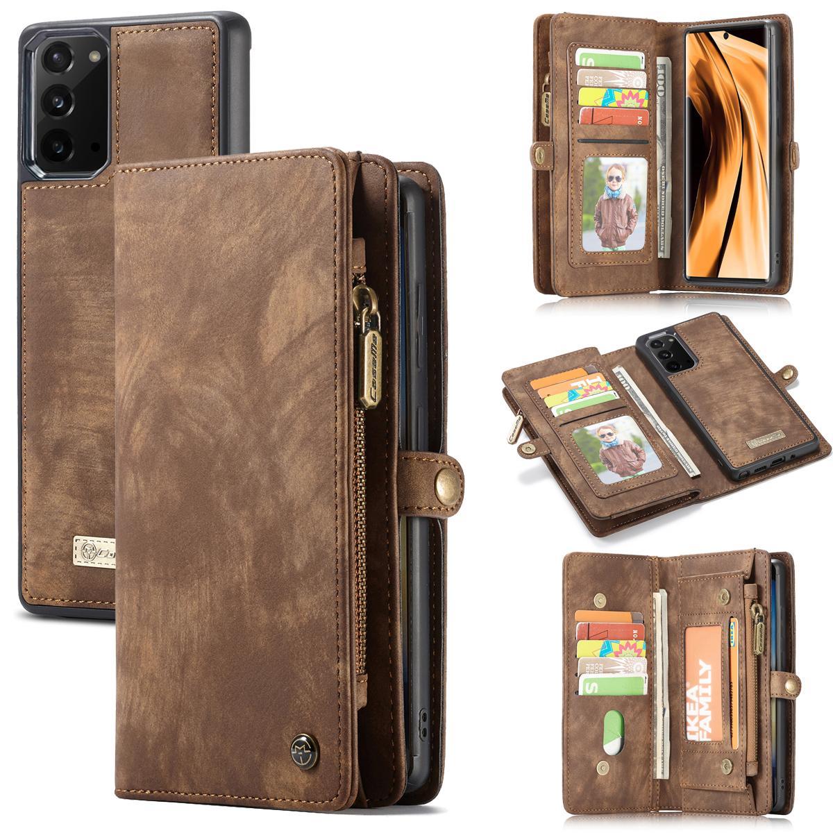 Multi-slot Plånboksfodral Galaxy Note 20 brun