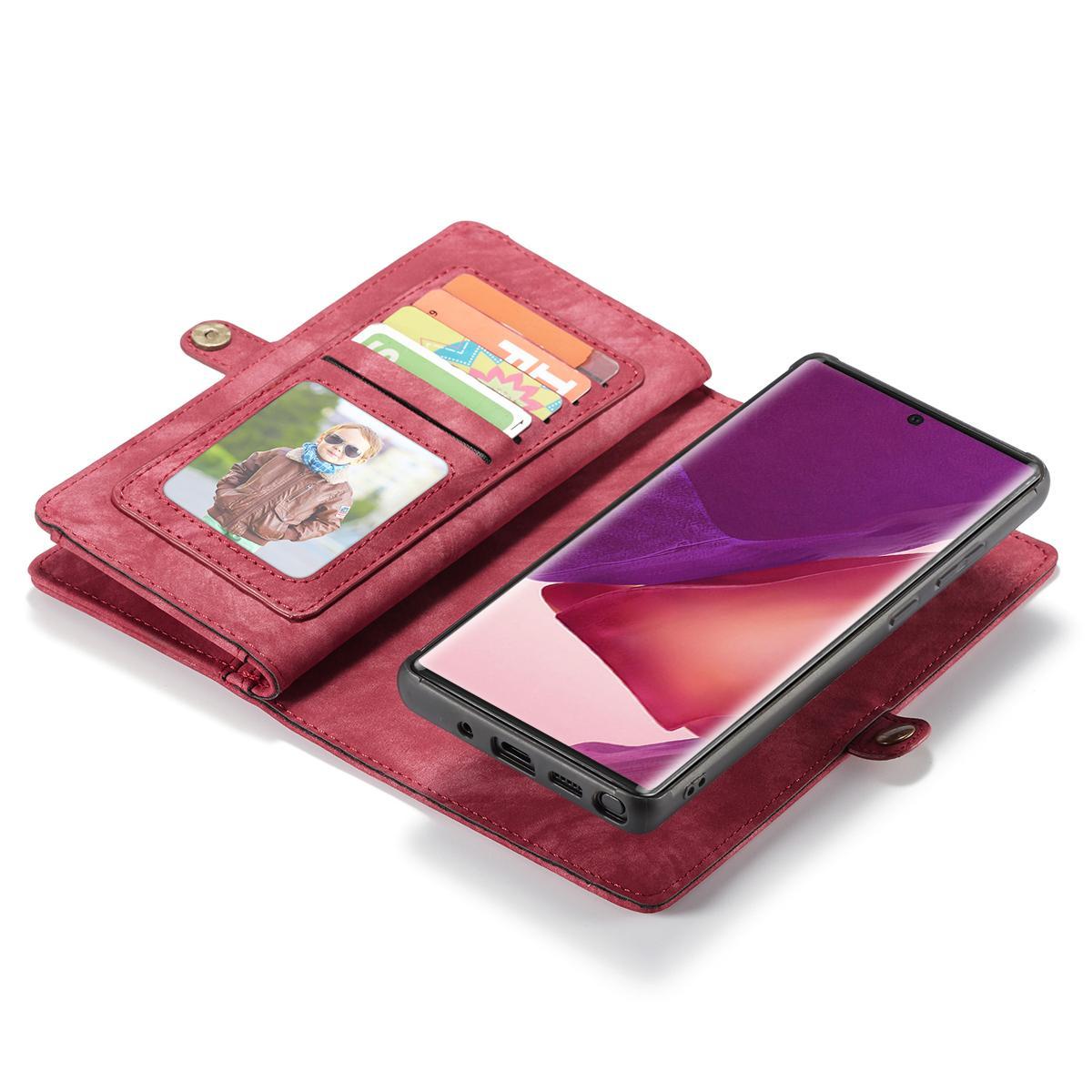 Multi-slot Plånboksfodral Galaxy Note 20 Ultra röd