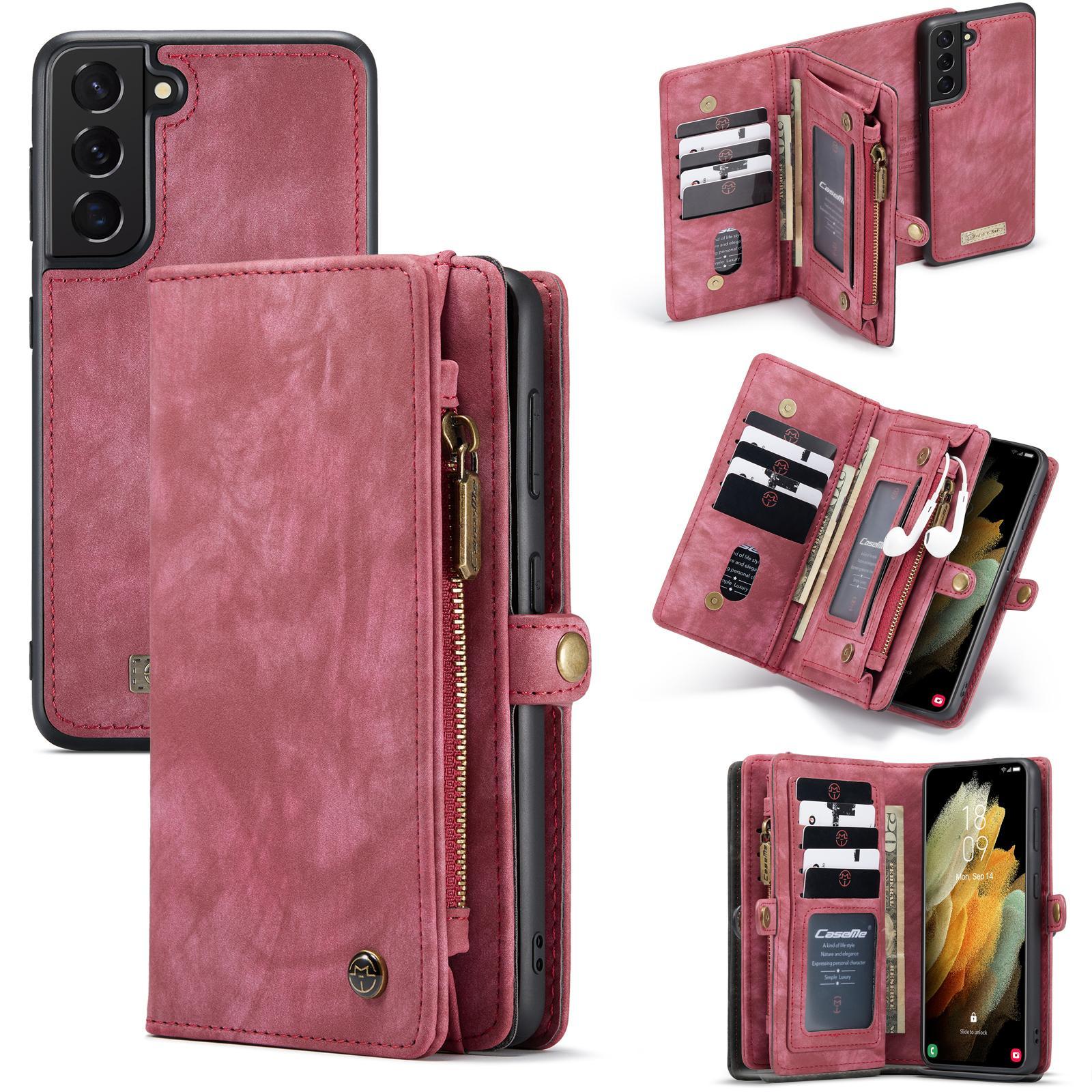 Multi-slot Plånboksfodral Galaxy S21 röd