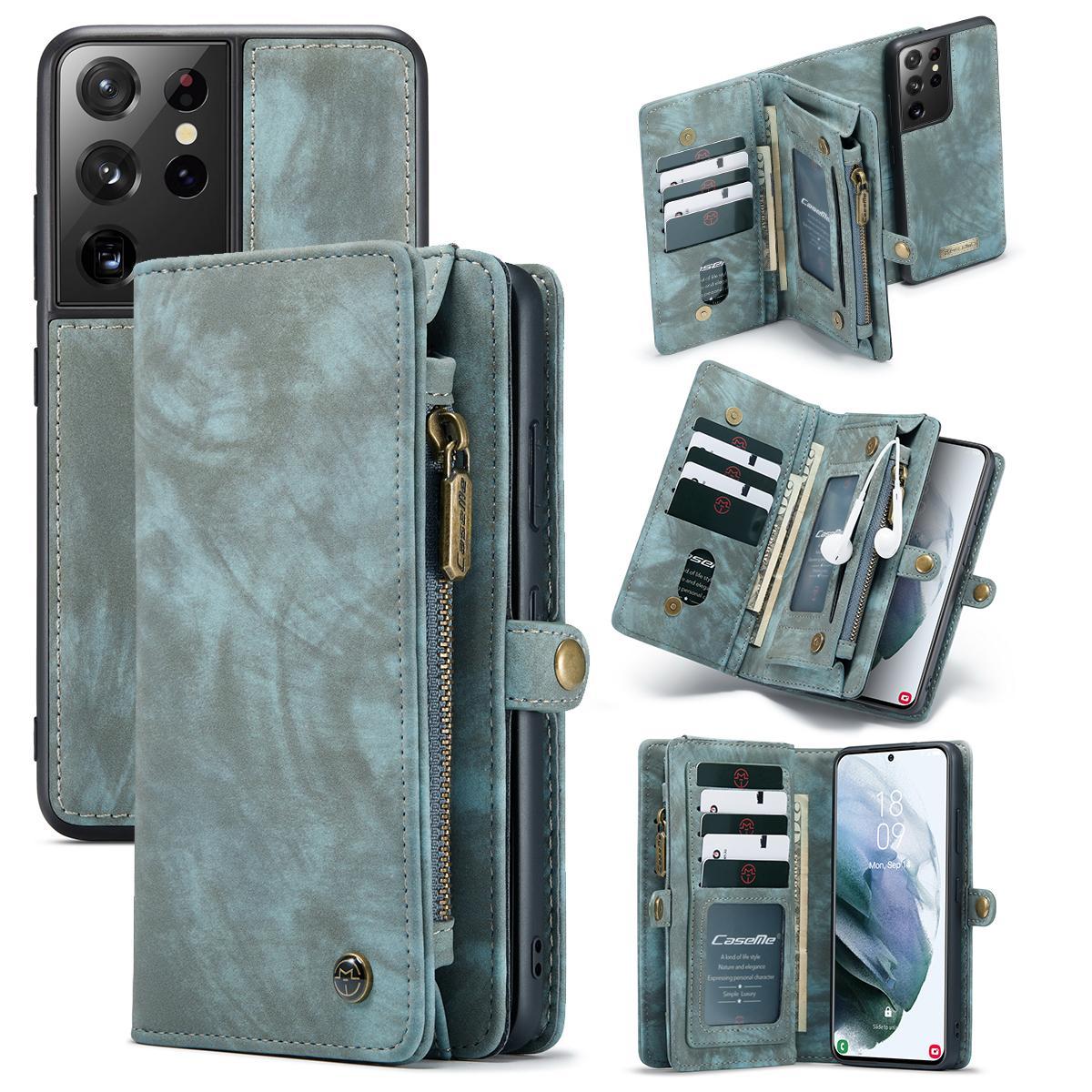 Multi-slot Plånboksfodral Galaxy S21 Ultra blå