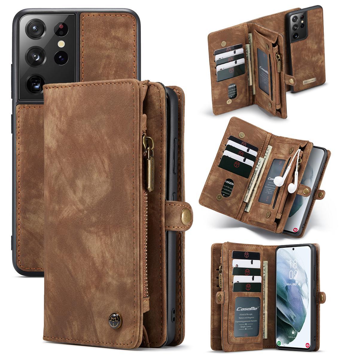 Multi-slot Plånboksfodral Galaxy S21 Ultra brun
