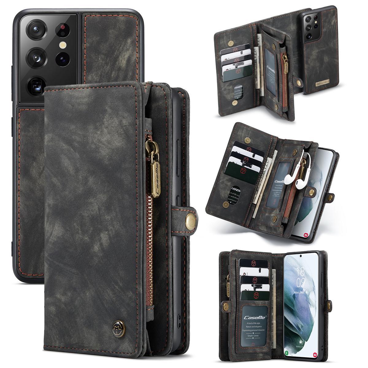 Multi-slot Plånboksfodral Galaxy S21 Ultra grå